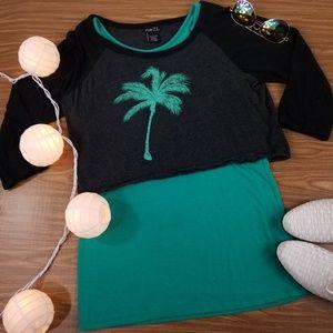 ✔Rue21 Crop Top & Tank Teal Black Palm 3/4 sleeve